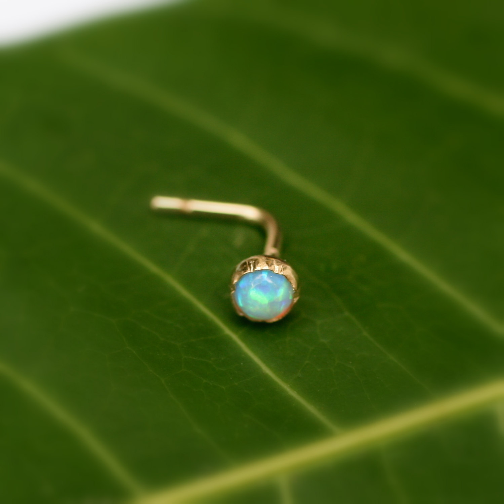 Tragus/Nose Ring/Cartilage Earring 14K Yellow Gold Filled Opal Stud 3mm Stone的图片