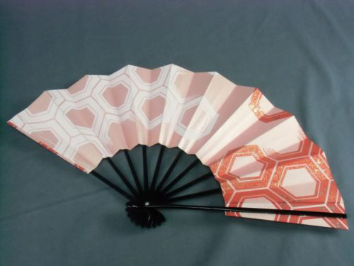 "SU7 VTG Japanese Sensu Hand Made Folding Fan Bamboo Paper Hand painted 11"" Red的图片"