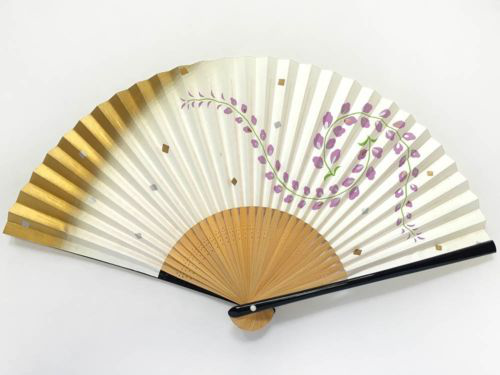 Unused Vintage Japanese 'Sensu' Folding Fan Wisteria Design from Kyoto: JulN的图片