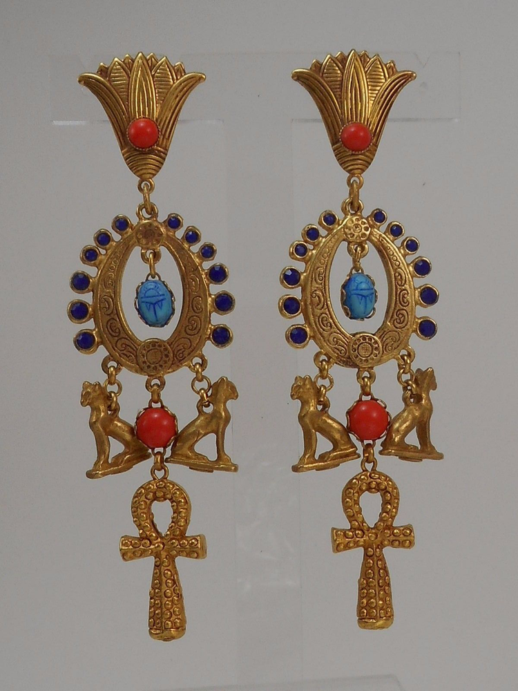 ASKEW LONDON 'EGYPTIAN REVIVAL' ANKH DROP EARRINGS的图片