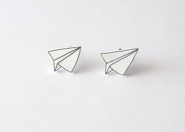 Paper Plane Stud Earrings - Made To Order的图片