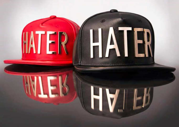 "HATER Metel ""HATER"" Black Garin Leather 金属logo 皮款 红的图片"