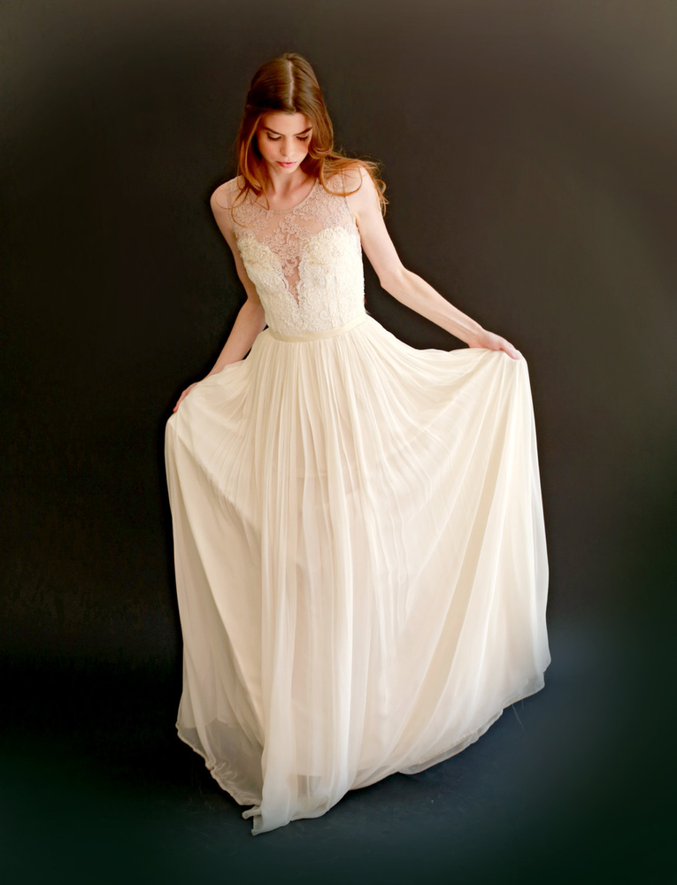 Josephine - lace and silk chiffon gown - SALE -的图片