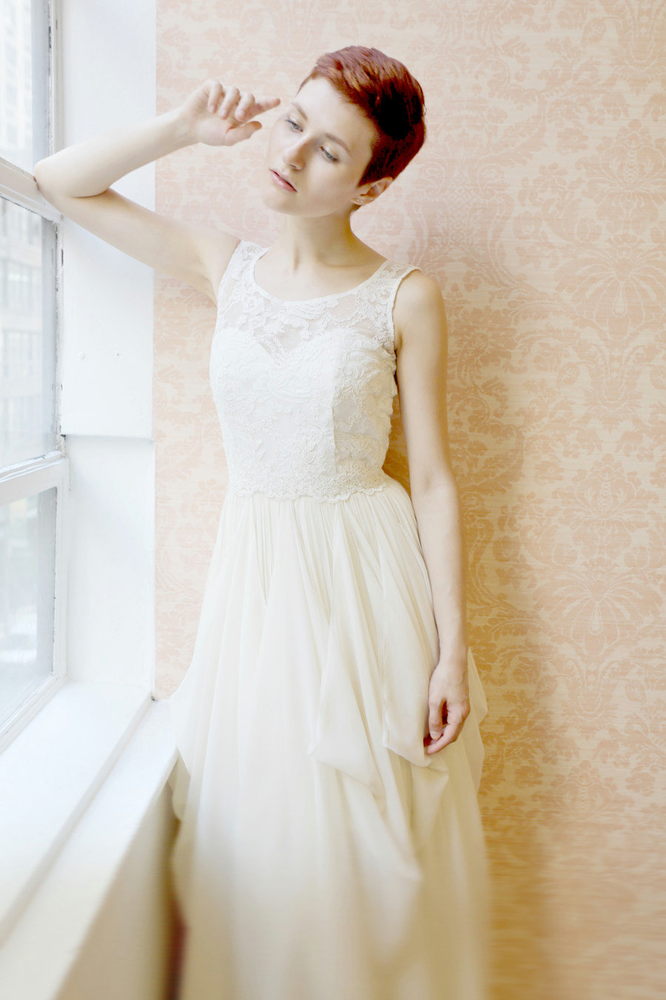 Clementine lace and silk chiffon gown - etsy exclusive - SPECIAL SALE的图片