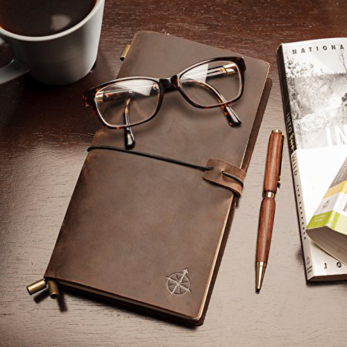Leather Notebook Journal - Refillable, Perfect for Writing, Gifts, Fountain Pen Users, Travelers, Professional, Diary. C的图片